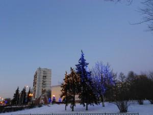зима в городе и огоньки